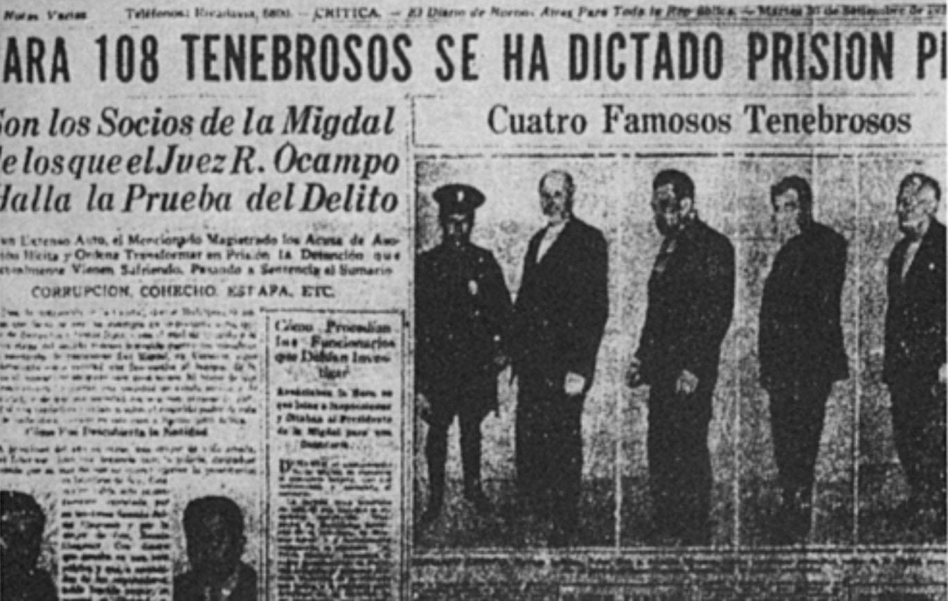 Copertina di un quotidiano di Buenos Aires, dopo il verdetto contro lo Zwi Migdal a, 1930 (Credit: Diario Critica)